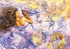 Lilac Dreams by Josephine Wall  Nestled beneath the silky folds of her lilac satin sheets, she drifts off into the mysterious world of her imagination. As with many young women her fantasies are of fairytale castles, romance and brave deeds. Many images mingle to form a collage of her innermost thoughts. Dreams of warm summer days in the country or perhaps being swept up into the strong arms of her lover to ride off into a sea of clouds, towards the new dawn.