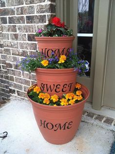 Home Sweet Home stenciled flower pots. on Etsy, $60.00