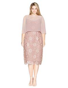 Gina Bacconi Lace and chiffon cocktail dress in Pink