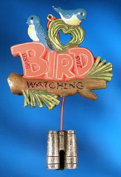 """Bird Watching with Birds & Binoculars ornament. Buy it now at www.ornamentswithlove.com for $11.99 Can be found in the """"hobby"""" and """"miscellaneous"""" categories."""
