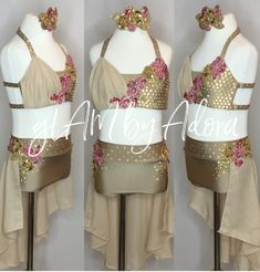Beautiful lyrical two piece dance costume in mostly gold, accented with coral.