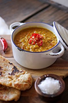Indian Daal: a gorgeously spiced Lentil stew. Served with homemade wholewheat Naan bread (tutorial included).
