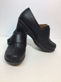 03978d2af21b Tom Mcan Womens 7W Black Leather Clogs With Strap  fashion  clothing  shoes