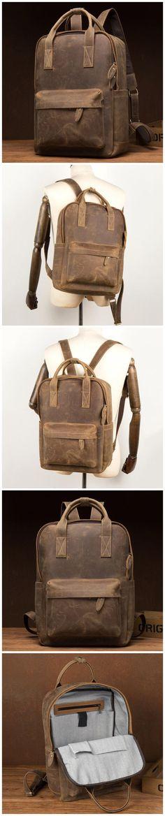 Crazy Horse Leather Backpack Men Retro Travel Backpack Laptop Backpack Model Number: Dimensions: x x / 31 cm(L) x 12 cm(W) x 40 cm(H) Weight: 4 lb / kg Shoulder Strap: Adjustable Color: Light Brown Features: Leather Backpack For Men, Leather Bag, Crazy Horse, Men's Backpack, Natural Leather, Christmas Shopping, Laptop Sleeves, Messenger Bag, Shoulder Strap