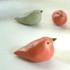 Coral Ceramic Stoneware Bird Sculpture Set of 3, Made to Order. $20.00, via Etsy.