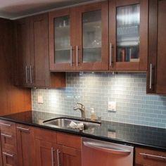 Kitchen Backsplash Tile Cherry Cabinets kitchen cabinets - american cherry, glass subway tile backsplash