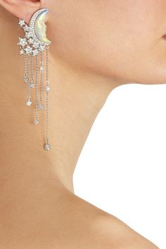 Lydia Courteille                               Moon 18-karat white gold, diamond and enamel earrings
