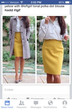 Mustard skirt, cream top, and gray coat. Modest fall fashion