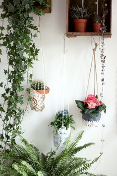 handmade recycled lace hanging planters