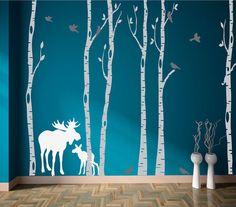 Birke Baum Aufkleber Set von sechs mit Elch Vögeln von StudioDecals