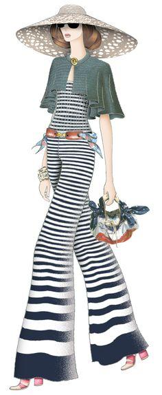Palm spring lady. Jaa design original fashion illustration.
