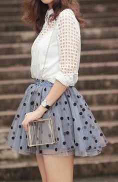 gorgeous polka dots skirts and white shirt