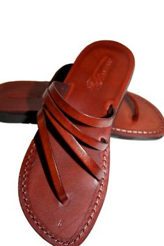 Brown Rainbow Leather Sandals for Men & Women by SANDALI on Etsy