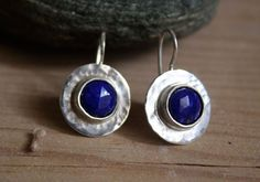 Lapis earrings, egyptian jewelry in sterling silver and lapis lazuli