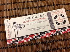 Classic  Las Vegas Theme Boarding Pass Invitation or Save the Date Deposit. $25.00, via Etsy.