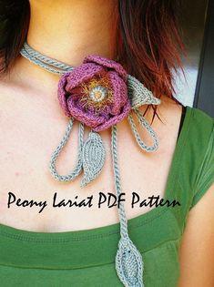 PDF Knitting Pattern  Peony Lariat par OhmayDIY sur Etsy, $6,00