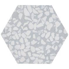 "Terrazzo Hex Azulio 9"" Matte Porcelain Tile | Tilebar.com Terrazzo Tile, Hex Tile, Hexagon Tiles, Wall Tiles, Mediterranean Tile, Dimensional Shapes, Encaustic Tile, Commercial Flooring, Outdoor Flooring"