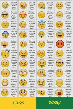40 x Personalised Emoji labels/stickers/birthday/party/cake/sweet/bags