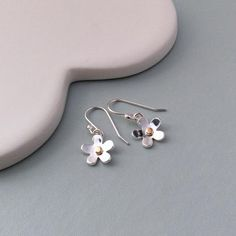 Silver flower earrings handmade from sterling silver and gold, lovely bridesmaid gift, matching necklace available Silver Jewelry Box, Silver Jewellery Indian, Sterling Silver Jewelry, Beaded Jewelry, Silver Ring, Handmade Silver Jewellery, Metal Jewellery, Ear Jewelry, Diamond Jewellery