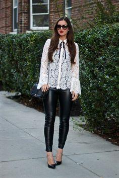 La Mariposa: Trendy Work Idea... Lace Bell-Sleeve Blouse; Black Leather Panel Leggings