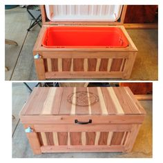 Patio cooler chest.  120 quarts.  Made by 5&2 Woodworks.