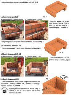 Cum se construieste un gratar din caramida? Bbq Grill Diy, Grilling, Outdoor Barbeque, Brick Construction, Firewood, Garden, House, Home Decor, Photos