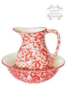 Aguamanil lluvia Carmen de Viboral, Colombia Ceramic Pottery, Illustration, Red, How To Make, Color Palettes, Dish Sets, Flower Vases, Rain, Dishes