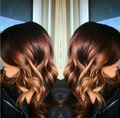 Copper hair with highlights..