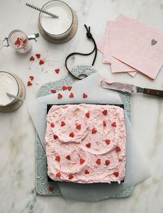 Elegante Óptimo Mini Chocolate Sheet Cake for Two with Raspberry Frosting - A Cozy Kit. Óptimo Mini Chocolate Sheet Cake for Two. Valentine Desserts, Valentines Day, Valentine Cake, Valentine Heart, Mini Chocolate, Cake Chocolate, Raspberry Chocolate, Melted Chocolate, Chocolate Frosting