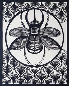 Male Atlas Beetle Paper Cut