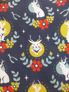 This fabric is 100% organic cotton from Birch Fabrics Tall Tales collection. Fabric is cut from the bolt and shipped to you within 1 business day of purchase.  You will receive one fat quarter of each of the following designs: Madame Cream Swallows Dusk Swallows Mineral Stamped Rose Cream Stamped Rose Tomato Jackalope Shroom Jackalope Cream Jackalope Dusk  Use coupon code SHIP25 for free shipping on any fabric purchase over $25 US Addresses only