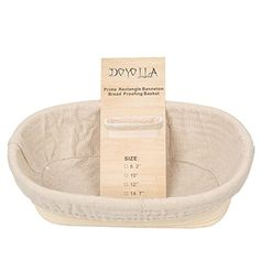 "DOYOLLA 1pcs 8.2"" Oval Long Banneton Brotform Bread Dough Proofing Rising Rattan Basket & Liner…  Best for making healthy artisan bread  Size: 8.2""(L) x 5.9""(W) x 3.1""(H) (about 210*150*80mm)  Made of nature rattan and comply with EU food standard  Hand wash with warm water and keep dry after clean  Package included: 1 X 8.2"" Square bread basket & Liner"