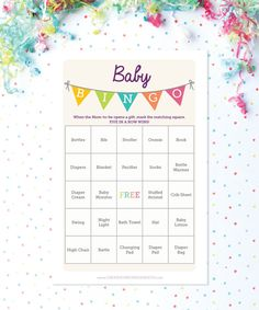 Baby Shower Bingo Game  50 Unique Game by CreativeUnionDesign