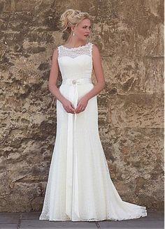 comprar Mavelous cordón de la envoltura del Bateau escote vestidos de boda con diamantes de imitación de descuento en Dressilyme.com