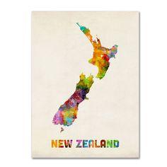 Michael Tompsett 'New Zealand Watercolor Map' Art (14 x 19 Wrapped art)