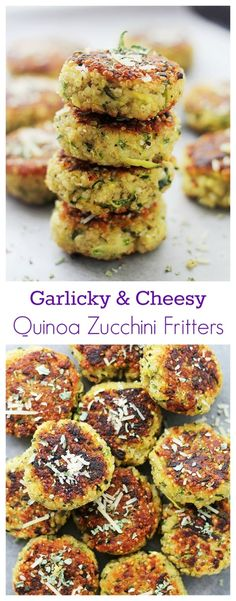 Garlicky & Cheesy Quinoa Zucchini Fritters | www.diethood.com | Packed with Quinoa and Zucchini, these Fritters are super delicious and very easy to make! by Gica1