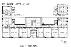 Plan of the Glasgow School or Art, designed by Charles Rennie Mackintosh