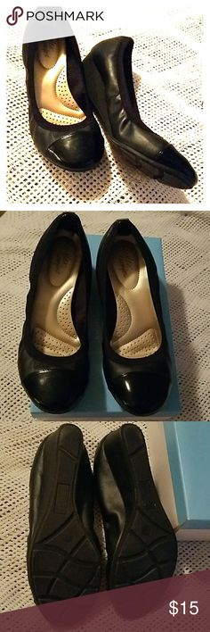 Black wedge pumps Black low wedge pump with patent toe cap detail. Very comfortable and cute. Perfect business casual wear. Only worn twice, like new condition. Size 8W Predictions Shoes