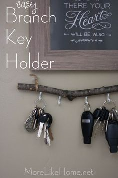 Easy DIY Branch Key Holder by More Like Home