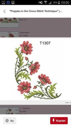 """""""Poppies in the Cross Stitch Technique"""" Cross Stitch Embroidery, Cross Stitches, Machine Embroidery Designs, Poppies, Diy Crafts, Cross Stitch Designs, Railings, Needlepoint, Table Toppers"""