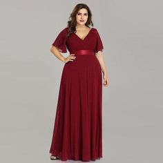 Great for Ever-pretty Plus Size Long Double V-neck Chiffon Evening Dresses Bridesmaid Gown womens dresses from top store Plus Size Long Dresses, Bridesmaid Dresses Plus Size, Evening Dresses Plus Size, Chiffon Evening Dresses, Long Summer Dresses, Long Wedding Dresses, Dress Wedding, Maxi Dresses, Chiffon Maxi