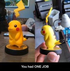 "SOMEbody didn't know what Pikachu looks like! This is a ""Nailed It!"" but if you're not a nerd or a kid you might not get it."