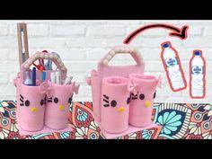 Kreasi Botol Bekas - TEMPAT PENSIL DARI BARANG BEKAS - YouTube Water Bottle Crafts, Diy Crafts Hacks, Book Crafts, Hand Embroidery, Diaper Bag, Origami, Projects To Try, Make It Yourself, Tote Bag