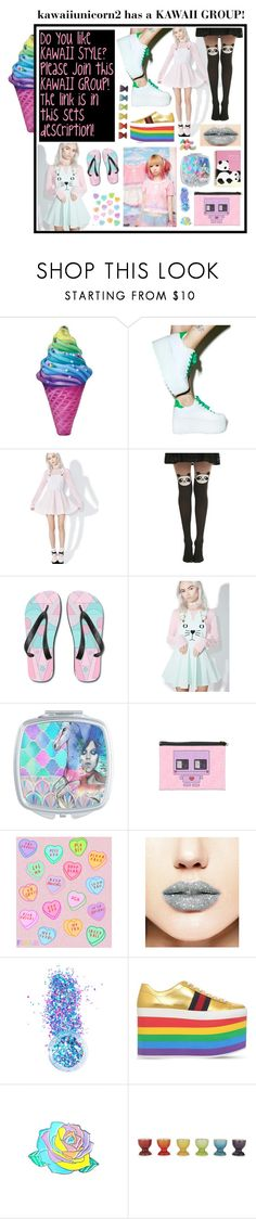 """""""kawaiiunicorn2 Super cute KAWAII GROUP!"""" by beanpod ❤ liked on Polyvore featuring Iscream, Macaron Hombeth, Hot Topic, Forever 21, In Your Dreams, Gucci and Le Creuset"""