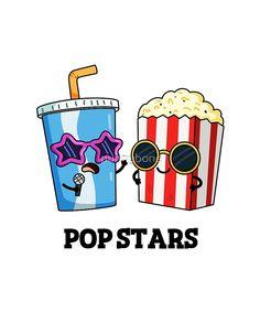 'Pop Stars Food Pun' Sticker by punnybone Iphone Wallpaper Stars, Funny Phone Wallpaper, Kawaii Wallpaper, Funny Food Puns, Food Jokes, Food Humor, Funny Jokes, Food Doodles, Funny Doodles