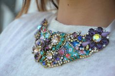 BIB friendship bracelet statement necklace with vintage treasures and Swarovski chrystals  - OOAKjewelz Couture Collection. €298.00, via Etsy.