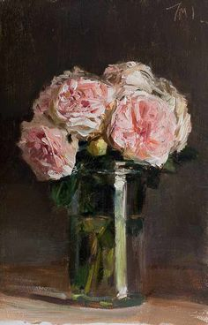 daily painting titled Roses in a jar - click for enlargement