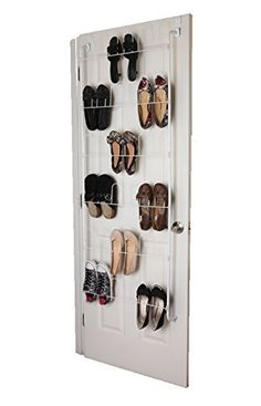 Over The Door Shoe Rack Organizer Holds 18 Pairs Of Shoes   Space Saving  Closet Door Rack Wire Shoe Rack For Light Weight Shoes And Footwear   White  ...