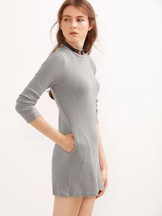 Grey Long Sleeve Pockets Ribbed Dress - Zooomberg