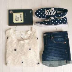 Denim Shorts with Polka Dot Patterned Patterned Sneakers / Shoes - School Appropriate Outfit
